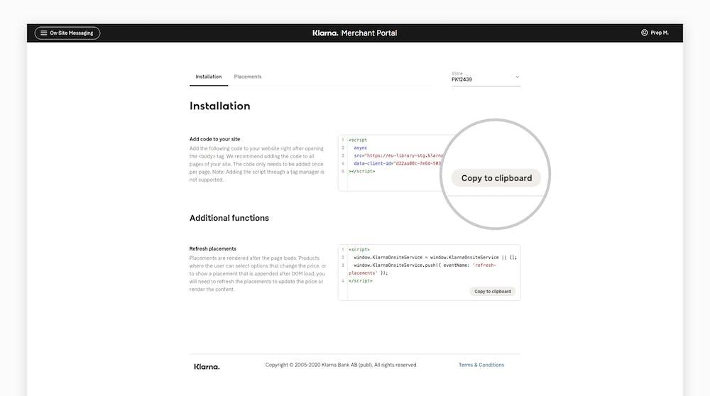 Copy JS installation snippet screenshot