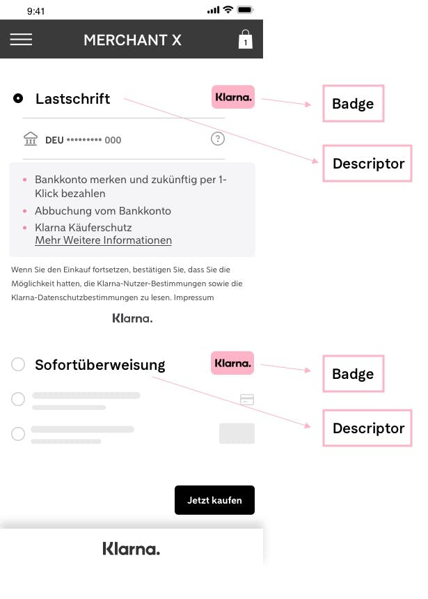 Example of how the combination of local Payment Descriptor naming and the badge looks like