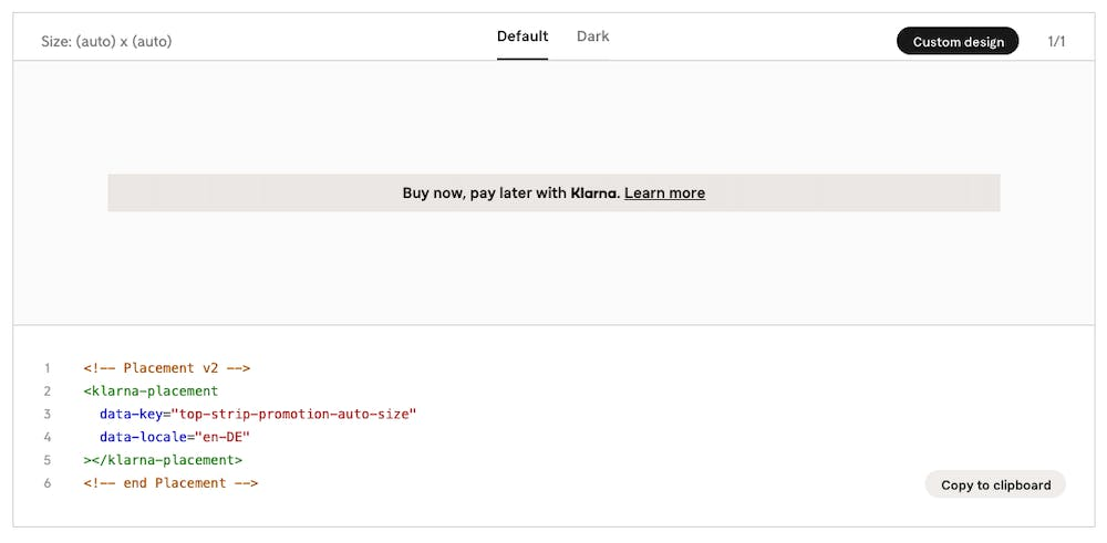 Example placement from the Klarna Merchant Portal