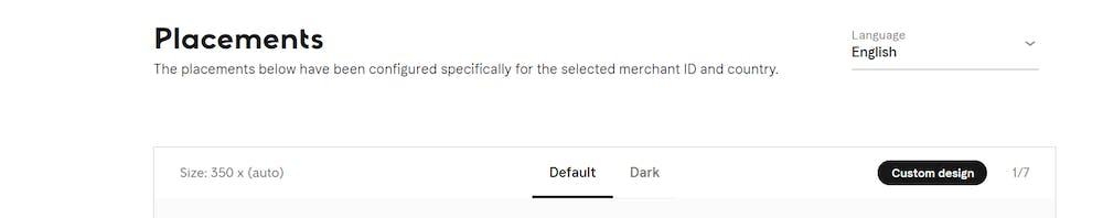 Placement configuration screenshot on Merchant Portal